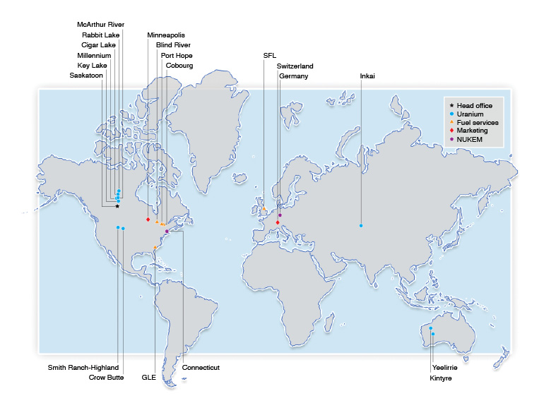 Map of Cameco operations around the world